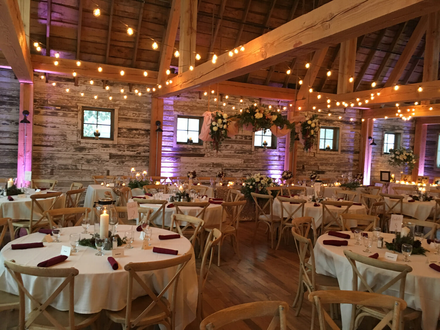 Event lighting by Pro Sound & Light Show at Gathered Oaks Barn